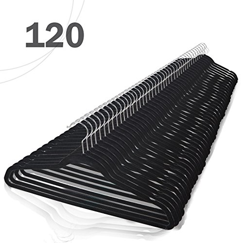 Voilamart 120 Pack Black Velvet Hangers - Heavy Duty Ultra Thin Non Slip Space Saving for Men Women Dress Suit Coat Pant Clothes Hanger Closet Organizer (Where To Buy Closet Organizer)
