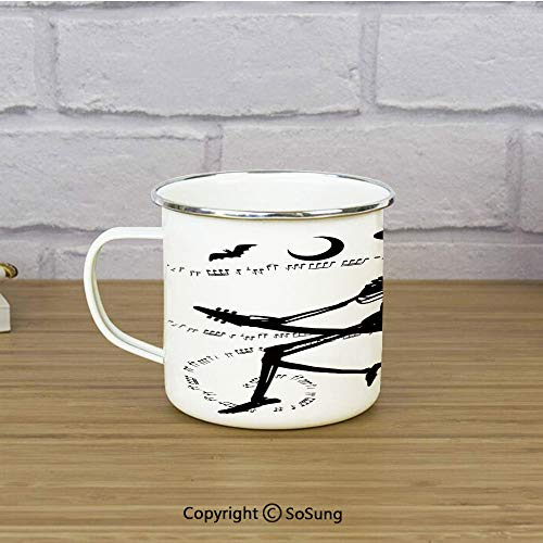 Music Enamel Camping Mug Travel Cup,Witch Flying on Electric Guitar Notes Bat Magical Halloween Artistic Illustration,11 oz Practical Cup for Kitchen, Campfire, Home, TravelBlack White -