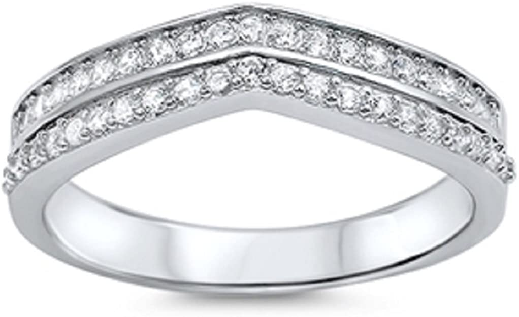 CloseoutWarehouse Cubic Zirconia Double Pointed Designer Ring Sterling Silver