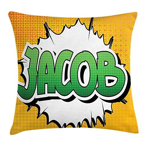 K0k2t0 Jacob Throw Pillow Cushion Cover, Personal Male Name in Green Shades on Comic Explosion Burst Effect, Decorative Square Accent Pillow Case, 18 X 18 inches, Marigold Green and White