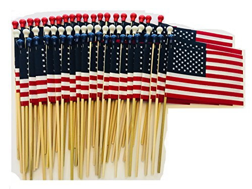 Lot of -60- 4x6 Inch US American Hand Held Stick Flags Patriotic Color Pack Red White and Blue Safety Ball Top WindStrong Made in USA