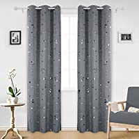 Deconovo Silver Dots Printed Thermal Insulated Blackout...
