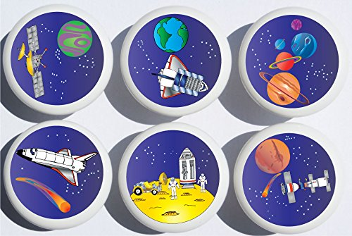 Outer Space Drawer Pulls / Space Ship Cabinet Drawer Knobs / Childrens Room