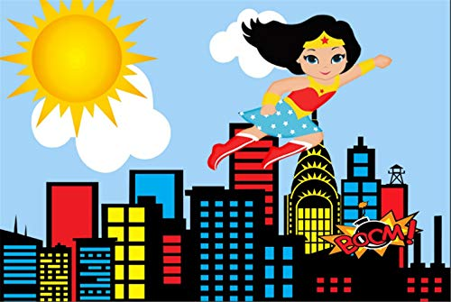 Dc Superhero Girls Backdrop 7x5ft Photography Background Birthday Boom City Scape Background Customized Backdrop with Name Girls Backgrounds for Dessert Table Decoration ()