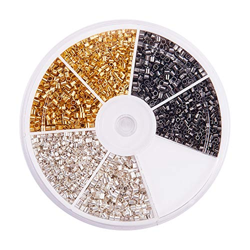 PandaHall Elite About 4350 Pcs Brass Tube Crimp Beads Cord End Caps Diameter 1.5mm 2mm for Jewelry Making 3 Colors