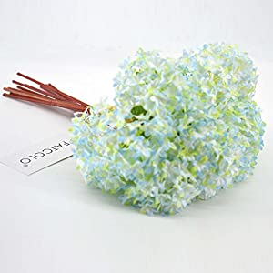 12 pcs/lot Lovely Mini Hydrangea Artificial Fake plastic Mini Fresh Silk Flower Arrangement Home Home Decorative Flowers Bouquet Dining-table Hotel party Wedding DIY Craft fake flores marriage decoration (sky blue) 4