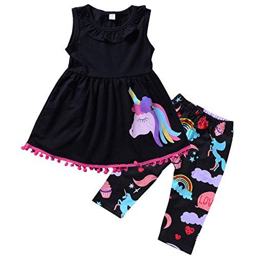 Dress Kids Outfit (puseky Toddler Girls Pony Unicorn Sleeveless Ruffle Shirt Dress Cropped Pants Outfit Set (Black, 6T))