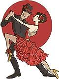 Tango Dance Couple Home Decal Vinyl Sticker 10'' X 14''