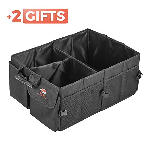 Set of 3. Car Trunk Organizer Rubberized Handles, Pockets, Fastening Bands+ Cooling Bag + Zip Bag from ALCA Durable Cargo Container Organizer for Car, Auto, Truck, Minivan or SUV
