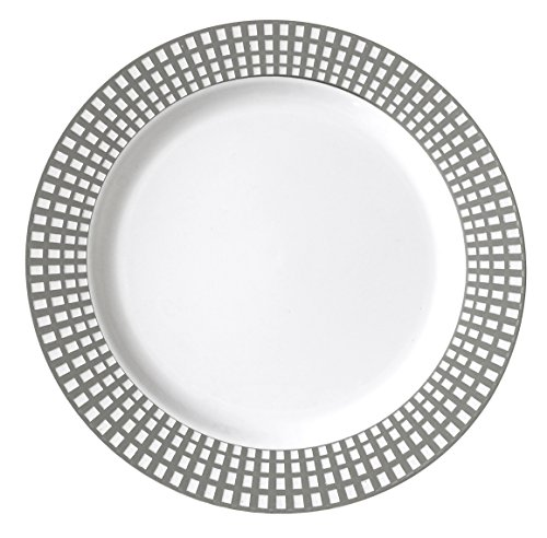 Table To Go 'I Can't Believe It's Plastic' 50-Piece Plastic Bowl Set | Venice Collection | Heavy Duty Premium Plastic Plates for Wedding, Parties, Camping & More (Silver Ivory)