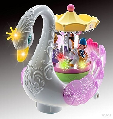 WolVol Beautiful Musical Rotating Horses Carousel Music Box on Self Riding Swan Animal, Lights and Sounds, Bump and Go Action - Great Gift Toy For Little Girls