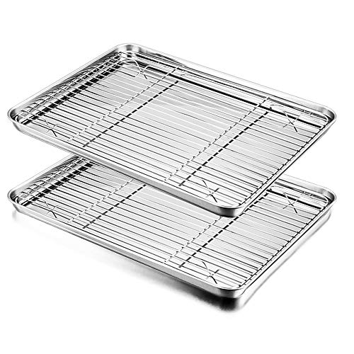 (Baking Sheet with Rack Set, E-far Stainless Steel Baking Pans Tray Cookie Sheet with Cooling Rack, 16 x 12 x 1 inch, Non Toxic & Healthy, Rust Free & Dishwasher)
