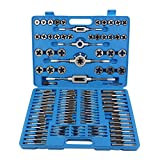 OKAYO 110Pcs Metric & Inch Alloy Tap And Die Set Steel Set Bolt Screw Extractor/Puller Kit In Metal Blue Case