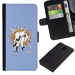 KLONGSHOP // Tirón de la caja Cartera de cuero con ranuras para tarjetas - Gorila & Shark Explosión - Samsung Galaxy Note 4 IV //