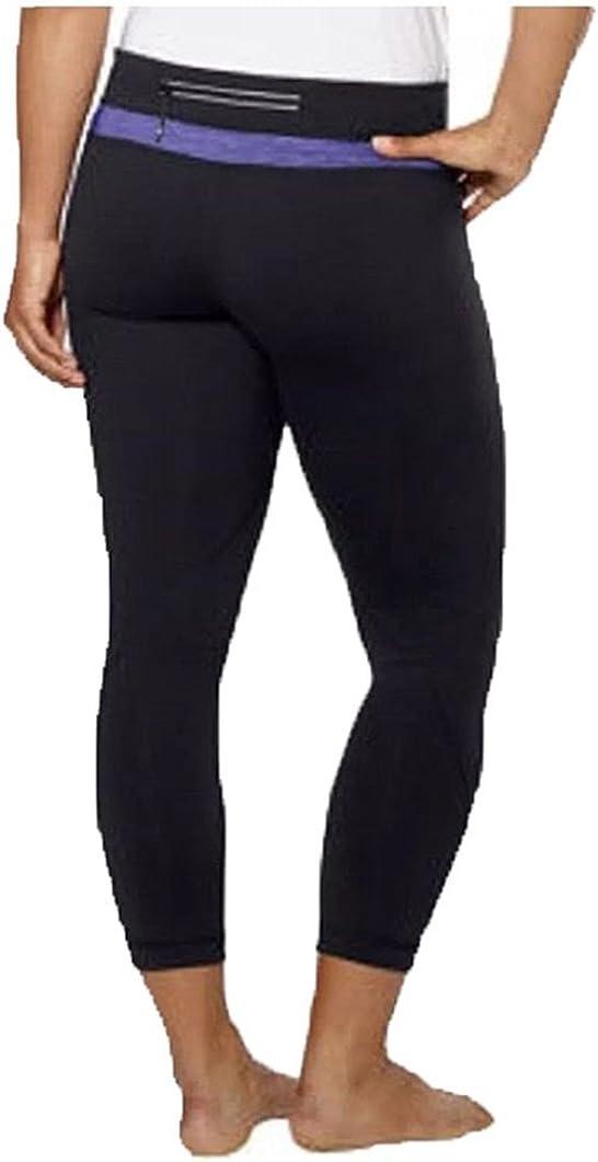 XS Kirkland Signature Womens Performance Yoga Capri Leggings BLACK PURPLE
