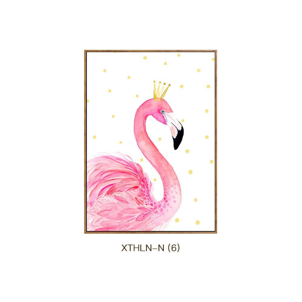 Barato Flamingo pequeña pintura decorativa fresca, animales del dormitorio de los niños tienen pintura de marco, impresión vertical y pinturas colgantes, pintura de decoración de pared única caliente,C,60  80 CWJ