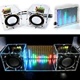 BONATECH Transparent Stereo Speaker Box DIY Kit Sound Amplifier with LED colorfule Music Spectrum