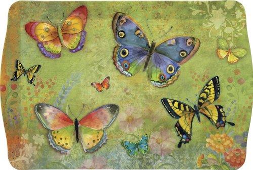 Butterfly Garden Melamine Plastic Handled Serving Tray - Garden Melamine Handled Tray