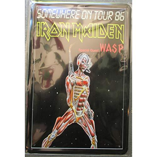 hotrodspirit Plaque Groupe Iron Maiden somevhere on Tour 86 Hard Rock Roll Musique tole publicitaire Metal pub Fan Artiste