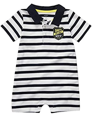 Carter's Boys Dad's Allstar MVP Polo Collar Romper (6 Months)