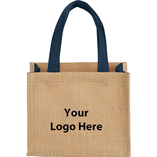 Mini Jute Gift Tote - 200 Quantity - $2.30 Each - PROMOTIONAL PRODUCT / BULK / BRANDED with YOUR LOGO / CUSTOMIZED by Sunrise Identity