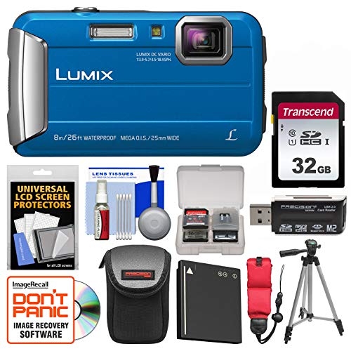 Panasonic Lumix DMC-TS30 Tough Shock & Waterproof Digital Camera (Blue) with 32GB Card + Case + Battery + Tripod + Float Strap + Kit
