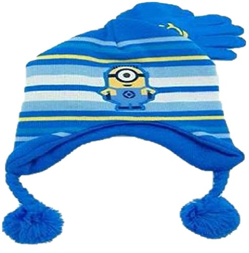 Girl Minion Costumes In Stock (Child size Despicable Me - One Minion Knit Laplander Hat & Glove Set)