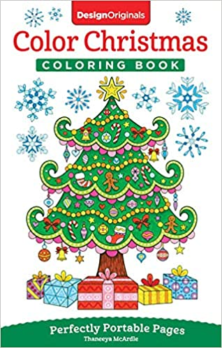 amazoncom color christmas coloring book perfectly portable pages on the go coloring book design originals extra thick high quality perforated pages