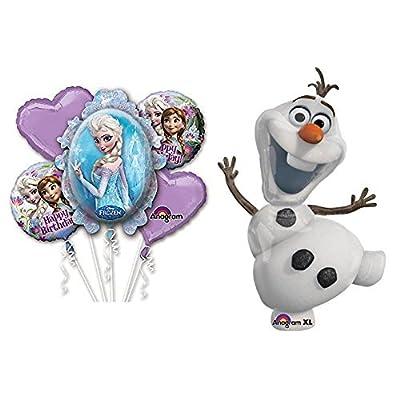 "Disney Frozen Olaf The Snowman 41"" Balloon and Frozen Birthday Balloon Bouquet Set: Toys & Games"