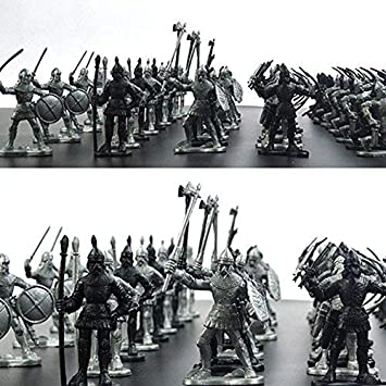 HT TOYS 60pcs/Set Medieval Military War Simulation Warriors Ancient Soldier Static Military Figures Model for Children Gifts
