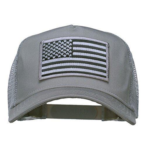 E4hats American Flag Patch Mesh Cap - Grey OSFM (American Trucker Hat)