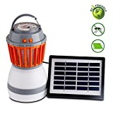 USHAWN Solar Lights Outdoor Camping Lantern with Bug Zapper 2 in 1 Night LED Bulb and Mosquito Killer Lamp Pest Repellent USB Rechargeable Flashlight Camping Gear & Accessories for Hiking or Emergency