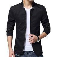 Leorealko Men Casual Coat Slim Fit Zipper Solid Business Coat for Spring Autumn