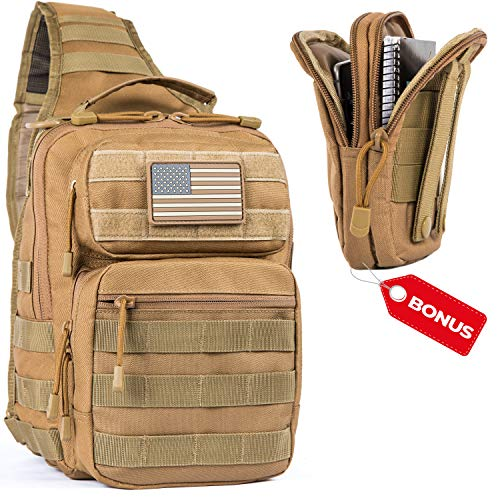 LPV PRODUCTS Army Tactical Backpack Molle | Sling Back Pack | Best Military Survival Gear for Men and Women - Range Shoulder Sling Bags - Small One Strap Bag for Hiking - Tan ()
