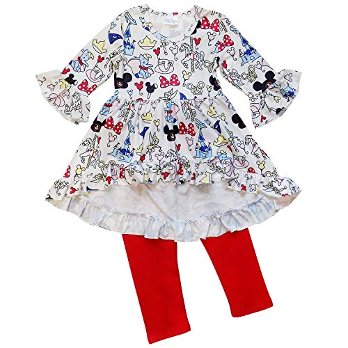 So Sydney Girls Toddler Pink or Red Minnie Mouse Kids Boutique Dress or Outfit (XL (6), Mouse Ears Hi Lo)