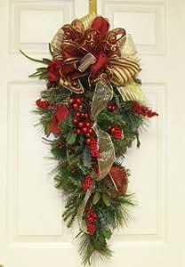Amazon.com: Floral Home Decor Burgundy Holiday Door Swag ...