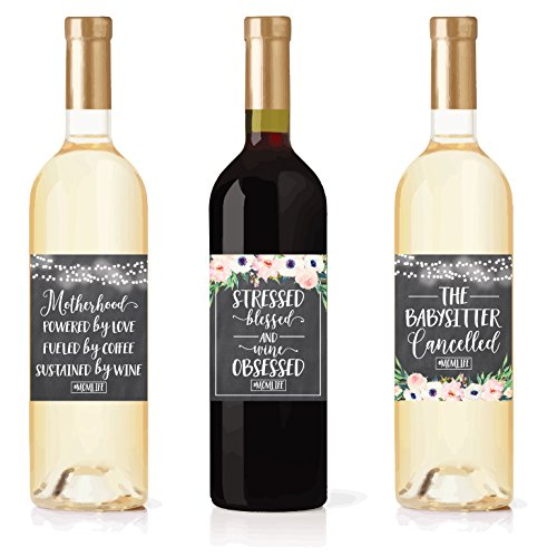 6 Chalk Mommy's First Milestone Stickers or Wine Labels, Great Baby Shower Gift Ideas For Mom To Be, Funny Mom's First Moments Having New Baby Girl or Boy, 1st Date Night With Dad & More by Hadley Designs (Image #3)