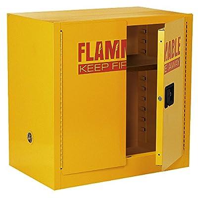 "Sandusky Lee SC22F Yellow Steel Safety Cabinet for Flammable Liquids, 1 Shelf, 2 Door Manual Close, 22 Gallon Capacity, 35"" Height x 35"" Width x 22"" Depth"