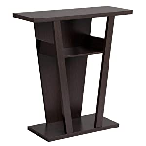 Yaheetech Angled Console Sofa Contemporary Entry Table Hall Table with 2 Shelves, Rich Espresso