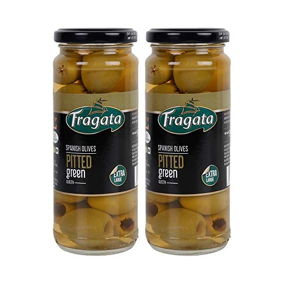 Fragata Pitted Green Olives Queen 340g (Pack of 2)