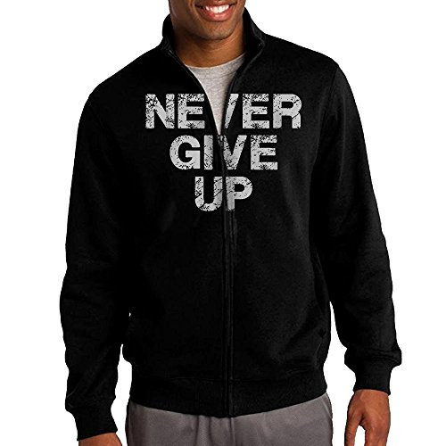 Men's Never Never Never Never Give Solid Stand Collar Zipper Jacket Size XL