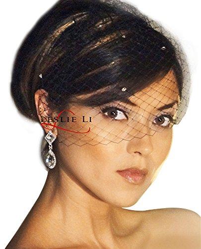 Black Birdcage (Leslie Li Women's Vintage Style Birdcage Veil French Net Veiling One Size Black LV27s)