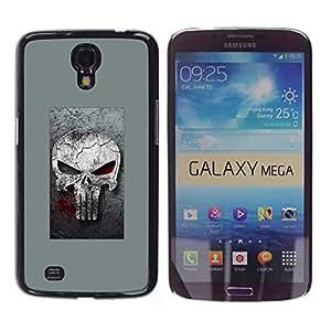 Samsung Galaxy Mega 6.3 / i9200 / SGH-i527 , Radio-Star - Cáscara Funda Case Caso De Plástico (Gray Punish Skull)