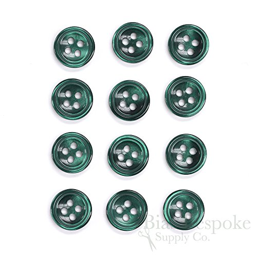Set of 12 Luminescent Emerald Shirt Buttons, Made in Italy