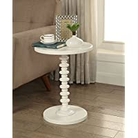 White Finish Wooden Round Spindle Chair Side End Pedestal Table