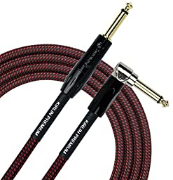 KIRLIN Cable IWB-202BFGL-10/BR 10-Feet Premium Plus Instrument Cable, Black/Red Woven Jacket