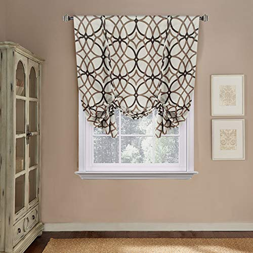 Soft Brown Shade - H.VERSAILTEX Tie Up Adjustable Curtain Rod Pocket Blackout Insulated Shade for Short Window (Taupe and Brown Geo Pattern, 42W x 63L, One Panel)