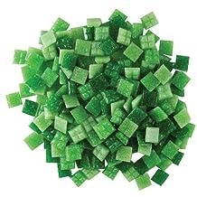 Jennifer's Mosaics Grassy Greens Mix 3/8-Inch Venetian Style Glass Mosaic Tile, Assorted Colors, 8-Ounce