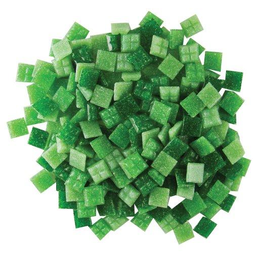 Diamond Mosaic Tile (Jennifer's Mosaics Grassy Greens Mix 3/8-Inch Venetian Style Glass Mosaic Tile, Assorted Colors, 8-Ounce)