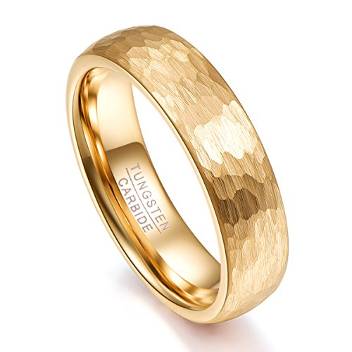 Vakki Tungsten Carbide Ring Multi Faceted High Polish Engagement Wedding Band Domed Center, 9